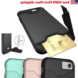 1-Credit Card Holder Case iPhone X XS XR 8 Plus 7 6S With Sl