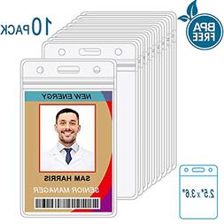 10 pack id card badge holder vertical