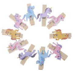 10PC Cute Unicorn Wooden Pegs Photo <font><b>Clips</b></font