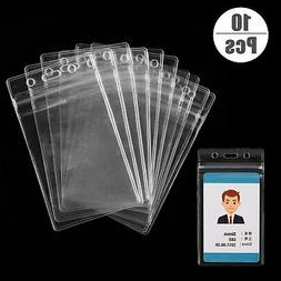 10Pcs ID Card Holder Clear Plastic Badge Resealable Waterpro