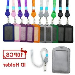 10pcs Vertical Style Leather Business ID Badge Card Holder &