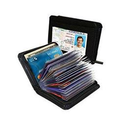 18 Cards Men's Wallet PU Credit Card Holder RFID Blocking Zi