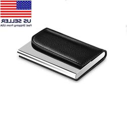 2 Pack Business Card Holder Leather Case Name Card Wallet Ca