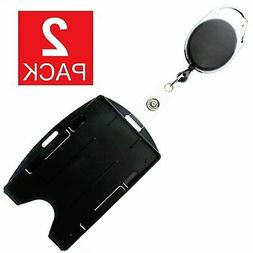 2-Pack Card ID Holder with Retractable Badge Reel w Carabine