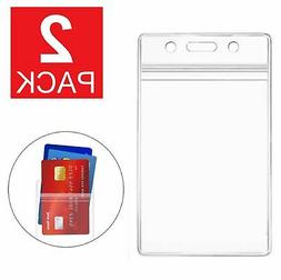 2-Pack ID Card Holder Clear Plastic Badge Resealable Waterpr