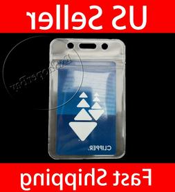 2 PCS ID Card Holder Clear Plastic Badge Resealable Waterpro