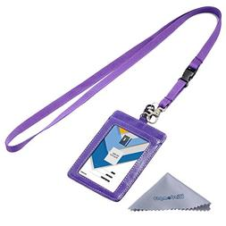 Wisdompro 2-Sided Vertical Style PU Leather ID Badge Holder
