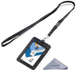 Badge Holder, Wisdompro Double Sided PU Leather ID Badge Car