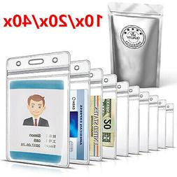 20x/40x ID Card Holder Clear Plastic Badge Resealable Waterp