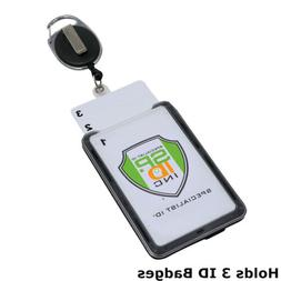 3 Card ID Holder with Retractable Badge Reel w Carabiner & B