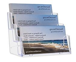 SourceOne 3 Pocket Premium Clear Acrylic Business Card Holde