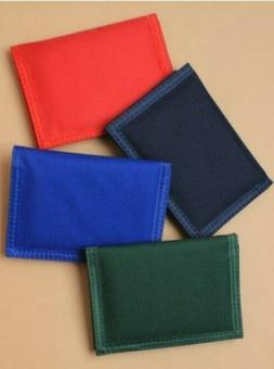 Adults Childrens Plain Red Navy Green Blue Tri Fold Wallet M