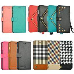 For Apple iPhone 8 7 6S 6 Plus X XS Wallet Case Card Holder