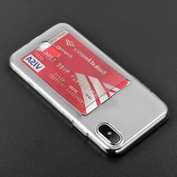 For Apple iPhone X - TRANSPARENT CLEAR CREDIT CARD SLOT HOLD