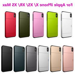 For Apple iPhone X XR XS Max Shockproof Wallet Credit Card H