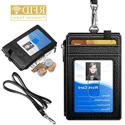 Badge Holder with Zipper, ELV PU Leather ID Badge Card Holde