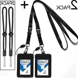 2 Pack Badge Holders Leather+2 Pack Neck Lanyards,Quick Rele