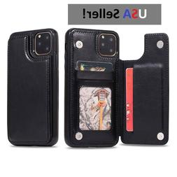 Black Leather Thin Flip Card Holder Wallet Case for iPhone 1