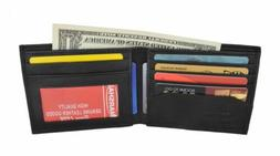 Black Men's Leather Bifold Credit/ID Cards Holder Slim Walle