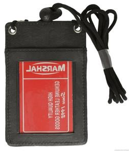 BLACK - Neck - LEATHER ID HOLDER CARD POUCH WALLET MARSHAL!!