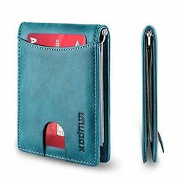 Blue RFID Blocking Women ID Card Holder Leather Case Slim Bi
