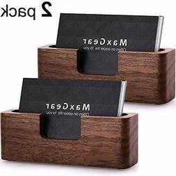 MaxGear Business Card Holder Wood Business Cards Holder for