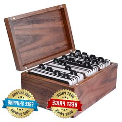 Business Card Holders Organizer Wood Box Cards File Storage