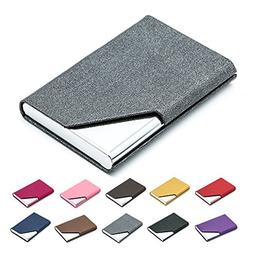 Business Name Card Holder Luxury PU Leather & Stainless Stee