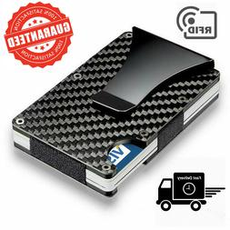 Carbon Fiber Money Clip Wallet Men RFID Blocking Minimalist