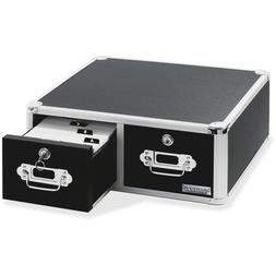 Card File Box w/Hinged Lid, Black
