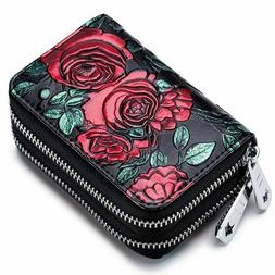 Case Wallet Double Zip Business Cards Holder Leather Women S