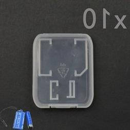 Bluecell Pack of 10 Clear Plastic Memory Card Case Holder fo
