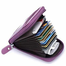 Credit Card Wallet with Zipper Genuine Leather RFID Credit C