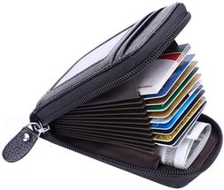 MaxGear Credit Card Wallet with Zipper, Genuine Leather RFID