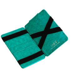 Dark Turquoise Leather Magic Wallet Card Holders With Gift B