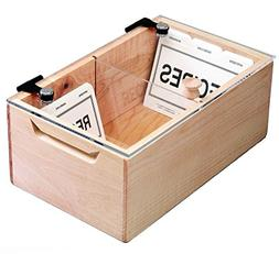Deluxe Maple and Acrylic Recipe Box - Holds More Than 1000 3