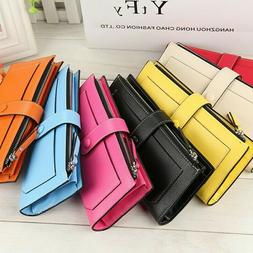 Fashion Women's Long Solid Color Leather Wallet Card Holder