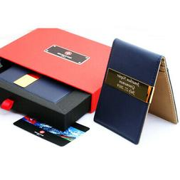 Free engraving - SWISS of WAGNER, 24K Gold, Leather Money Cl