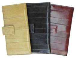 Genuine eel skin soft credit card holder wallet with snap bu
