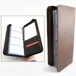 Genuine Leather Business Card Holder 160 Cards Organizer Boo