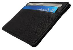 AG Wallets Mens Black Leather Minimalist Front Pocket Cash C