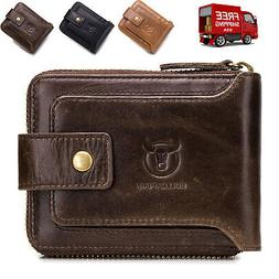 Genuine Leather RFID Blocking Wallets for Men Women Zip Cred