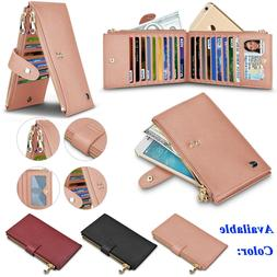 Genuine Leather Women Wallet With Credit Card Holder Zipper