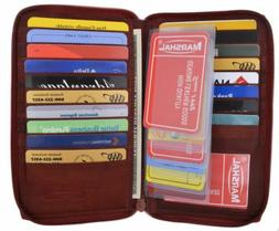Genuine Leather Zipper Wallet Business & Credit Card Case Ho