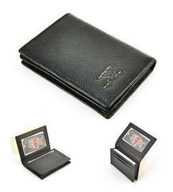 Genuine Real Leather Business Name Credit ID Card Holder Wal