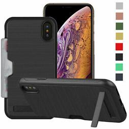 Hidden Credit Card Holder with Stand Case For iPhone 8 7 6s