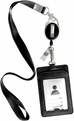 ID Badge Card Holder Leather Vertical Clip Neck Strap Lanyar
