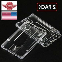 ID Badge Holder Hard Plastic Card Holders Vertical 2 Pack