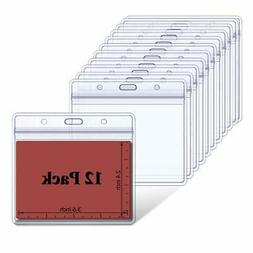 ID Badge Holder Horizontal Name Tag Card Holders with Reseal
