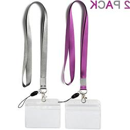 2 Pack ID Badge Holders with Purple Lanyards Office Neck Str